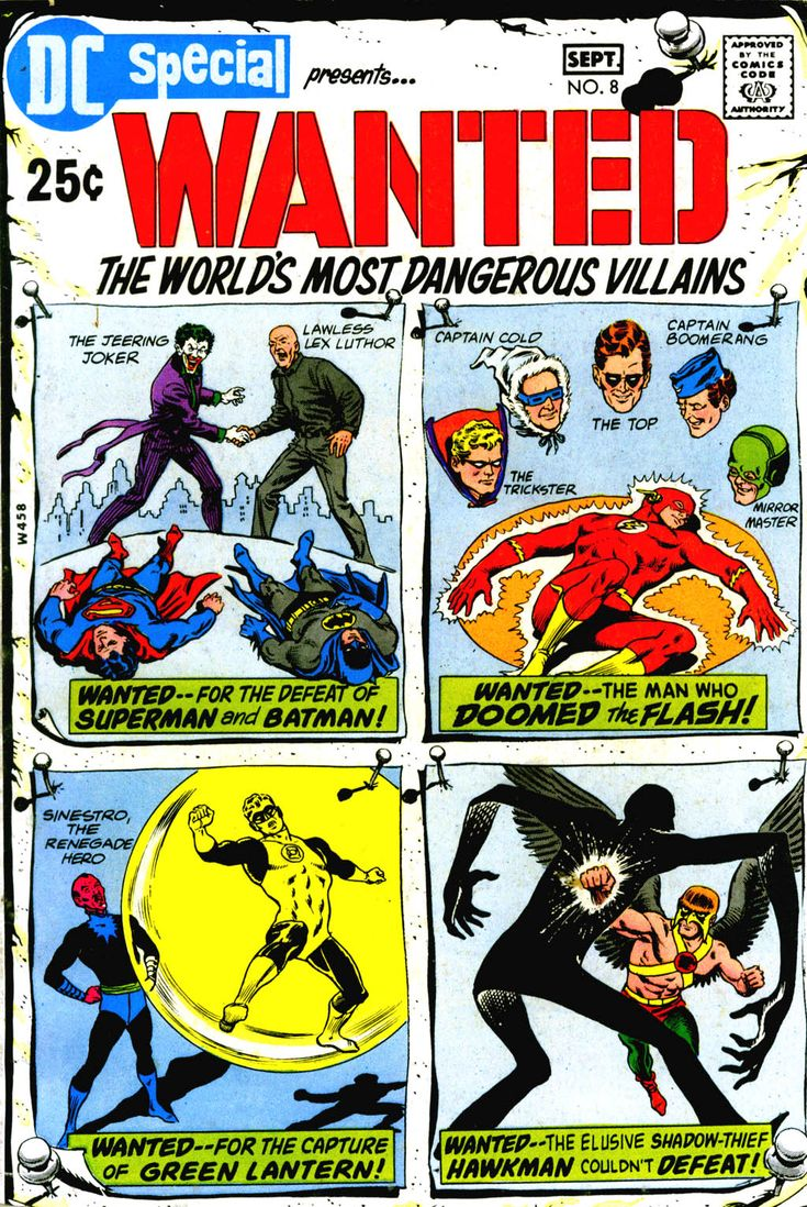 DC Special 8, Wanted, The World's Most Dangerous Villains, September 1970, cover by Murphy Anderson