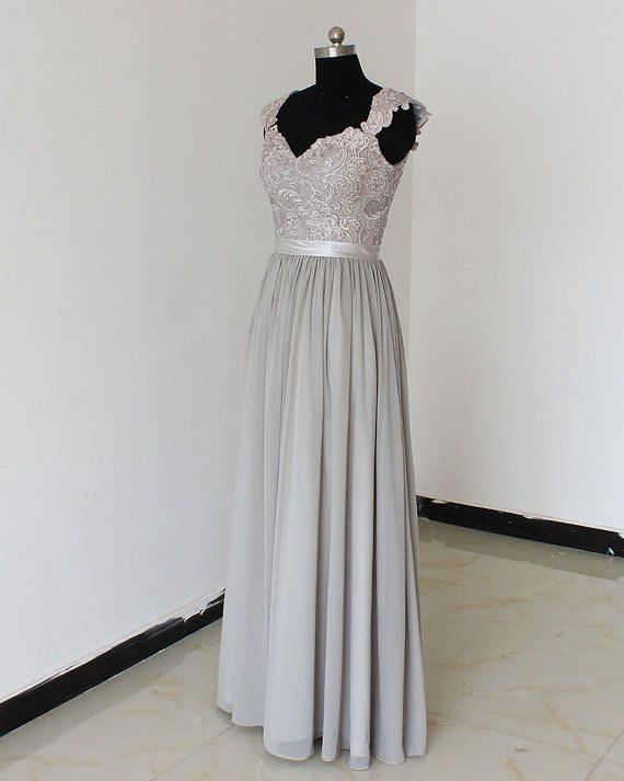 Gray long lace dress bridesmaid dress backless dress for Gray lace wedding dress