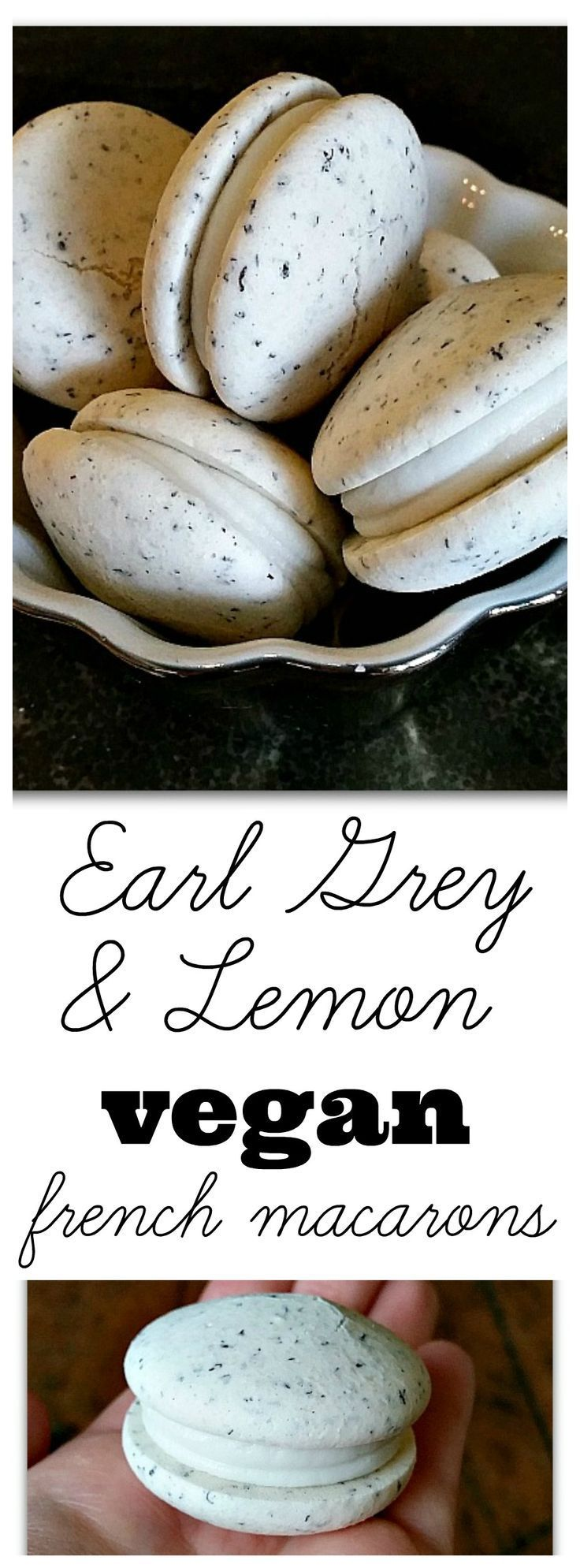 Vegan French Macarons - Earl Grey with Lemon Filling! Out of all the egg-free macaron recipes, this one tastes the most authentic! #aquafaba #glutenfree