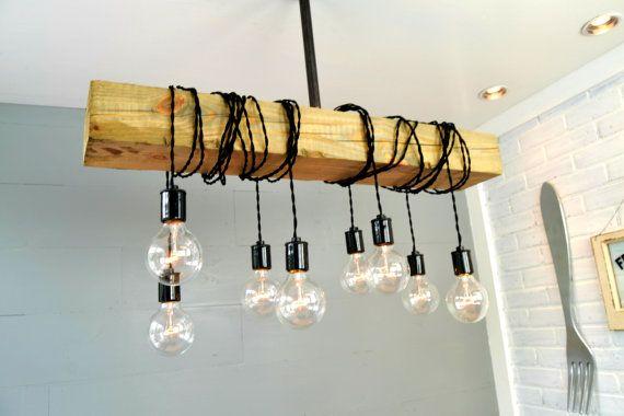 Iluminación - luz Industrial de iluminación - luz de madera - reclamada luz - accesorio - Bar - Industrial - plafón - Inicio lámparas de araña