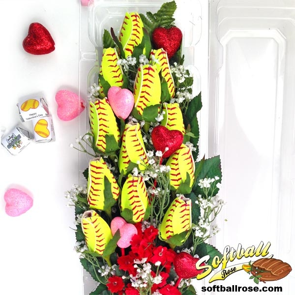 One Dozen Long Stem Softball Roses! Hit A Grand Slam This Valentineu0027s Day  With A