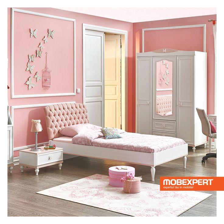 Cromatica veselă și designul deosebit al patului Butterfly contribuie la amenajarea unei camere luminoase și estetice. #pat #copii #mobexpert