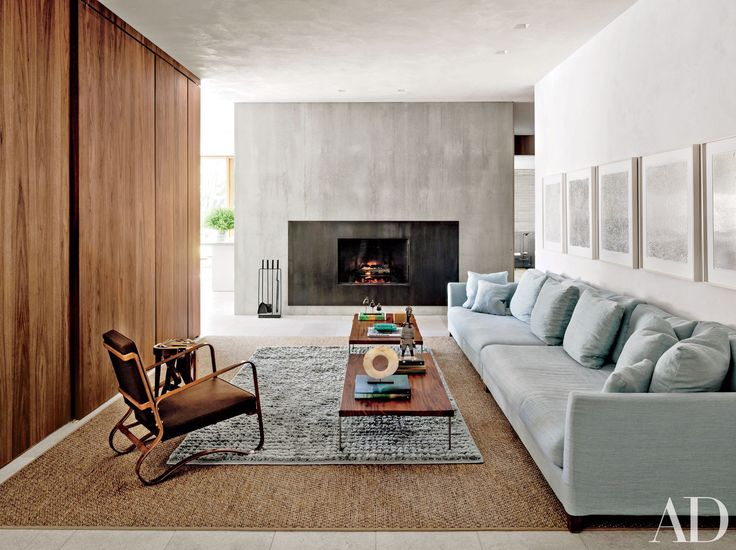 The family room of a modernist home in Amagansett, New York, designed by husband-and-wife architects Tod Williams and Billie Tsien.