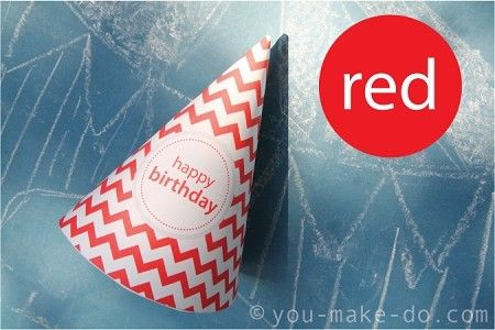 Instant download party printables—red chevron party hat printables to make your own party hats for birthday parties and cake smashes! Perfect for 1st birthday photos. Available in any color to match your party theme.