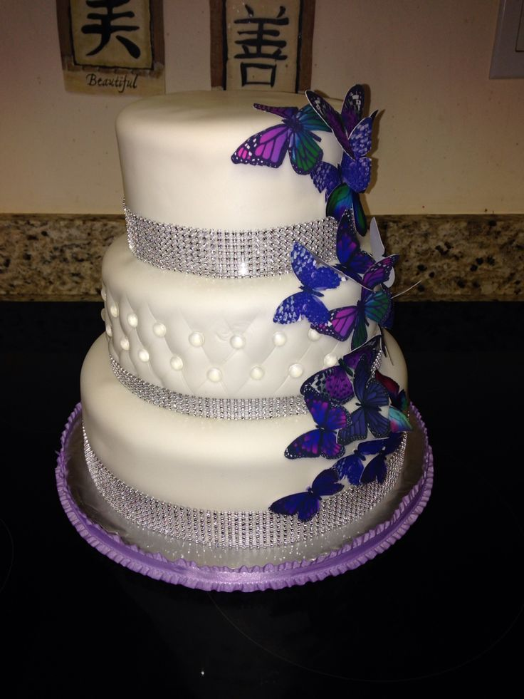3 tier bling butterfly cake with images butterfly cakes