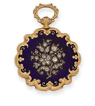 A MID 19TH CENTURY ENAMEL, DIAMOND AND GOLD POCKET WATCH, BY CZAPEK I SPOLKA, circa 1840