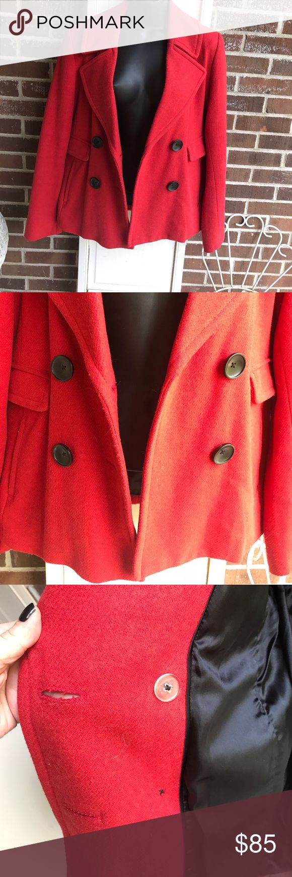 Beautiful Banana Republic peacoat wool blend Sz.Lg Beautiful red/orange wool Blend ladies Banana Republic Peacoat .... no issues , holes , stains , and lining is also without issues .... excellent pop of color for those dreary winter days ....it's a Lg , and fits true .... as I believe you should always check the brands website for their sizing chart if unfamiliar with brands fit ..it's the most accurate way of insuring a proper fit for you , since all brands sizing varies ... Banana…