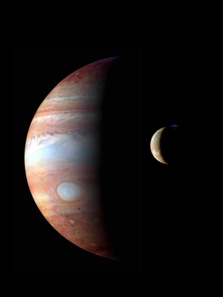 This montage of images of Jupiter and its volcanic moon Io, was taken by the New Horizons spacecraft's flyby in early 2007. The Jupiter image is an infrared color composite taken by the spacecraft's near-infrared imaging spectrometer on Feb. 28, 2007. The infrared wavelengths used highlight variations in the altitude of the Jovian cloud tops.