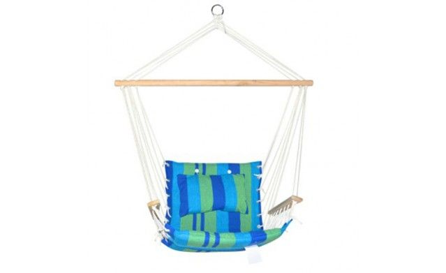 HAMMOCK SWING CHAIR Made from quality polyester cotton with a solid timber rail, this hammock chair is a great addition for your home. You can hang it in your backyard for a splash of colour and an inviting place to read a book in. Very simple installation, you can take it with you to a barbecue or on a vacation. It can be attached to trees, ceilings or pergola beams. Note: Only hand wash the pillow by gentle pressing. Do not put the pillow in a washing machine. It will damage the filling…
