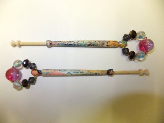 1 Pair Beautiful Hand Marble Painted Midland Lace by Turnerscrafts, £6.25