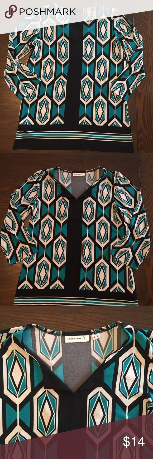 *5 for $25* Susan Graver Geometric Top Susan Graver teal and black top with geometric print, wrinkle-free material, size XXS but could fit XS and Small because it is a loose fitting top, split V-neckline, 3/4-length sleeves, semi-fitted through chest and waist with a relaxed bottom opening, 95% polyester, 5% spandex Susan Graver Tops Blouses