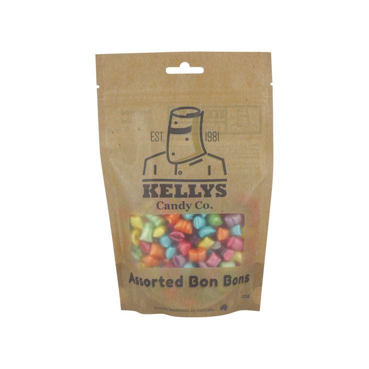 A bulk box of 10 Kellys Assorted Bon Bons Bags.