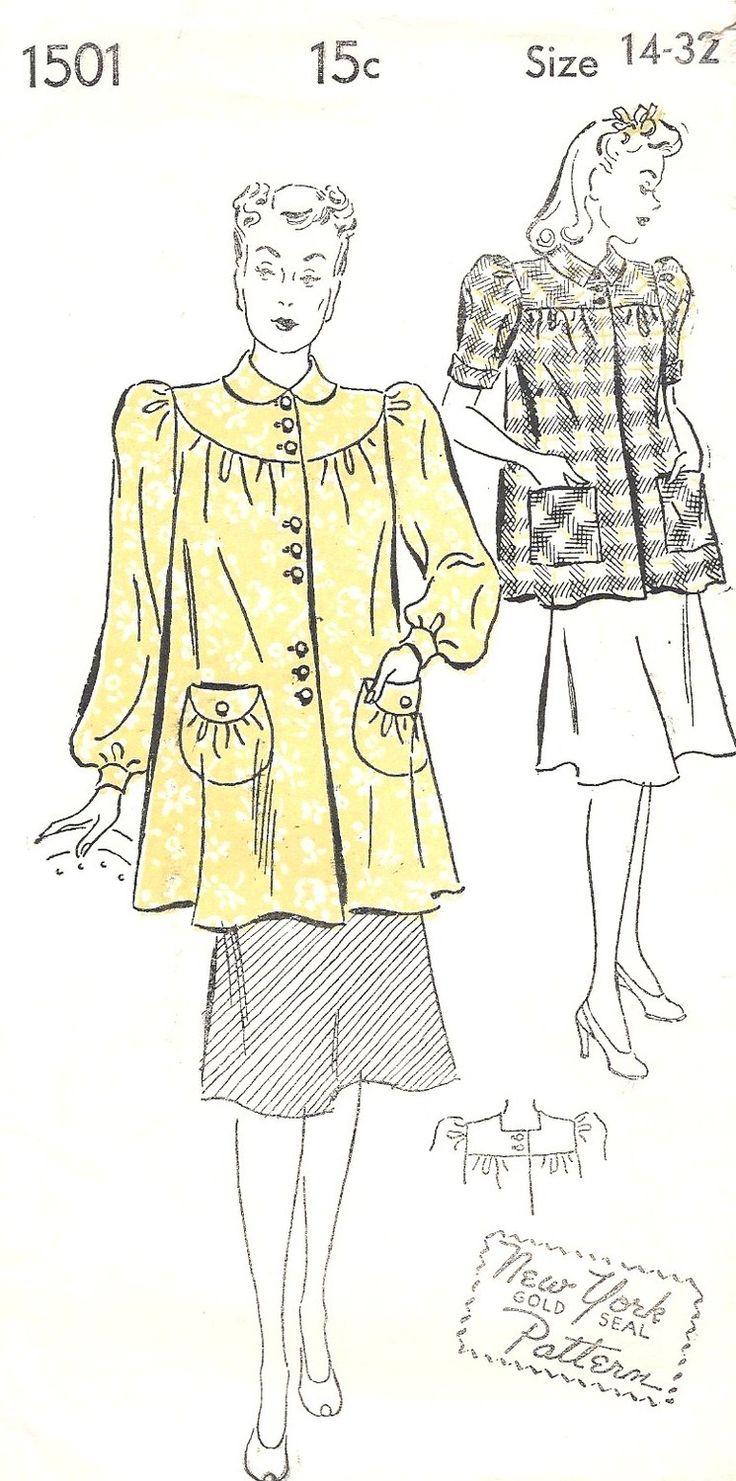 1940s Misses' SMOCK Maternity Blouse with Puff door MissBettysAttic