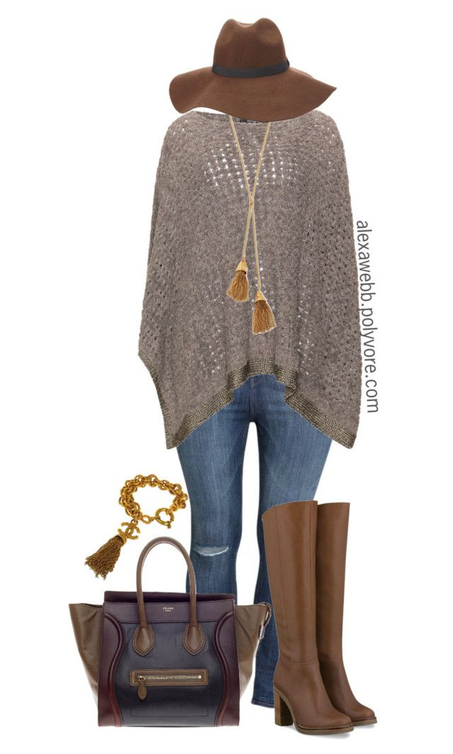 """""""Plus Size - Winter Poncho"""" by alexawebb ❤ liked on Polyvore featuring H&M, Lele Sadoughi, CÉLINE, Charlotte Russe, Chanel, outfit, plussize, plussizefashion, alexawebb and PolyvorePlus"""