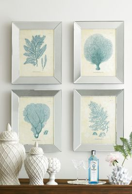 Blue wisps of coral spray grace these four, feathery, feminine prints | Coral Spray Prints | Soft Surroundings