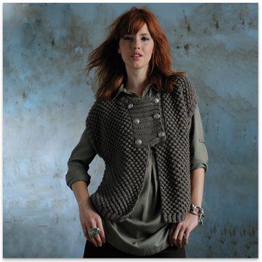 Modèle gratuit veste kimono militaire femme Phildar