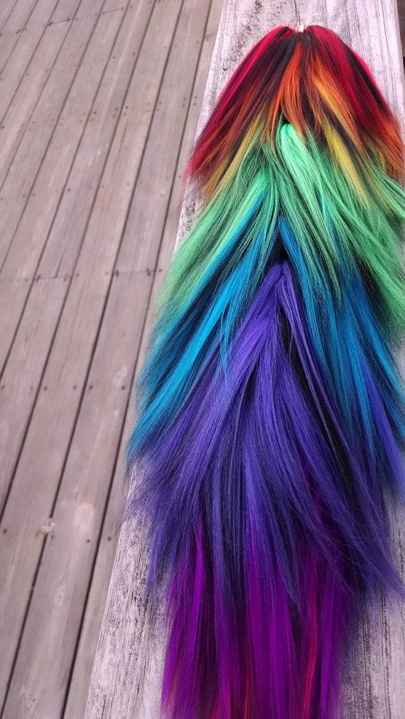 Yarn Tail Rainbow and Black 16 Inch Drake's by DrakesYarnTails                                                                                                                                                                                 More