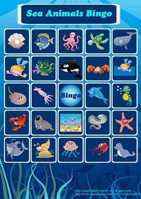 sea animals bingo game