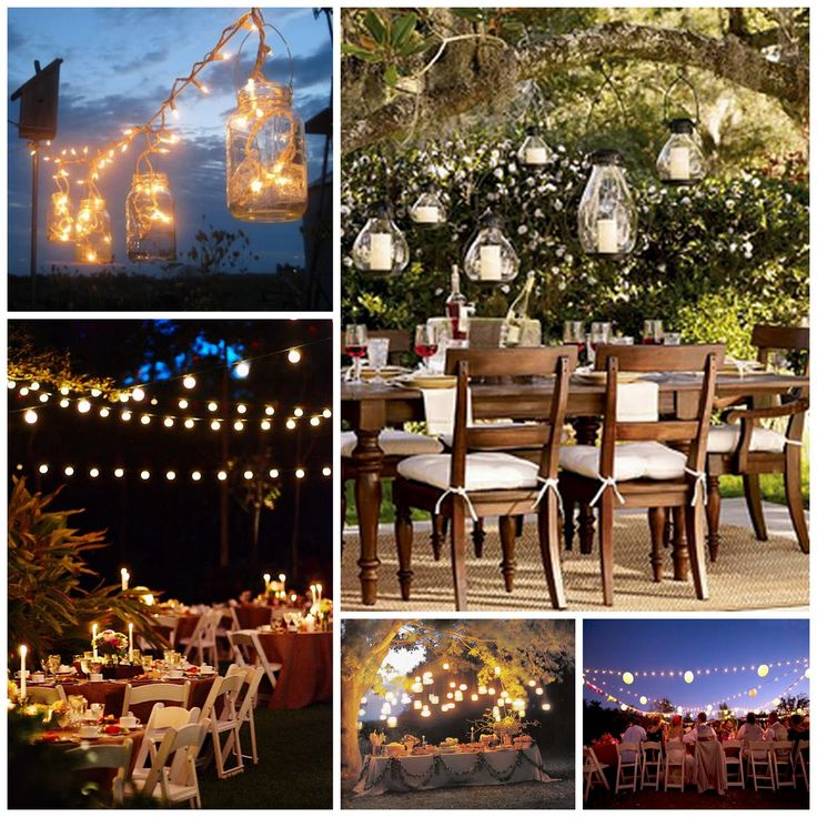 Lights wedding pinterest rustic wedding and wedding for Backyard wedding decoration ideas