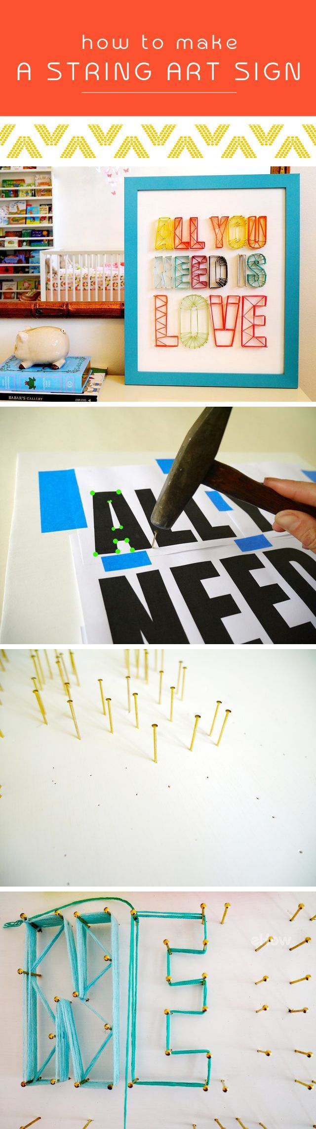 String art signs are perfect for just about every room in the house, especially nurseries and kids rooms. The colorful and playful design adds a lot of character, no matter what you decide to spell out. Check out the how-to here: http://www.ehow.com/info_12340469_make-string-art-sign.html?utm_source=pinterest.com&utm_medium=referral&utm_content=inline&utm_campaign=fanpage