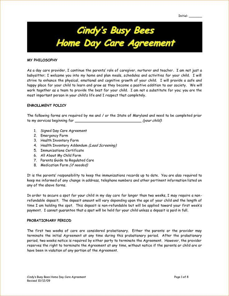 Home Daycare Contract Template Awesome Best 25 Daycare Contract Ideas On Pinterest Daycare Contract Starting A Daycare Daycare Business Plan