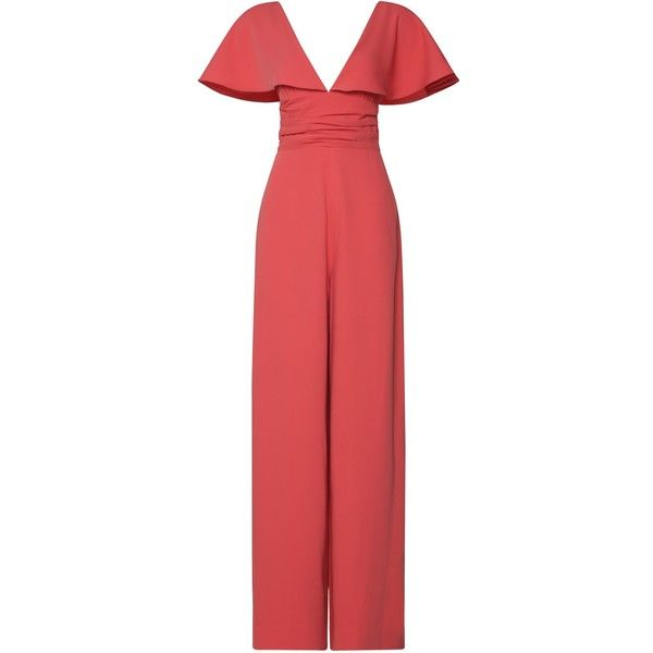 Claire Jumpsuit In Draped Cape Jolie Pants Gauri and Nainika ($795) ❤ liked on Polyvore featuring jumpsuits, red jump suit, coral jumpsuits, pleated jumpsuit, draped jumpsuit and sleeve jumpsuit