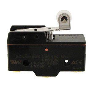 Micro switch Omron para las cajas eléctricas de los Pivots RKD, Agrocaja, Urapivot y Otech. Cuerpo negro y patilla con rueda, corta o larga.