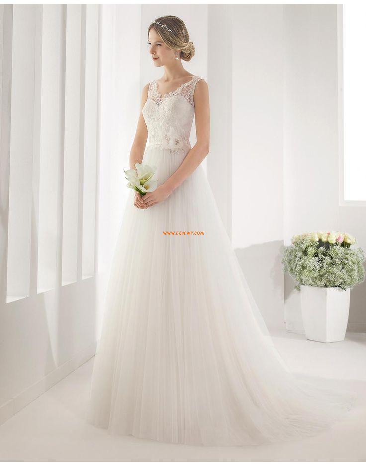 A-Linie 3/4 Arm Reißverschluss Brautkleider 2015