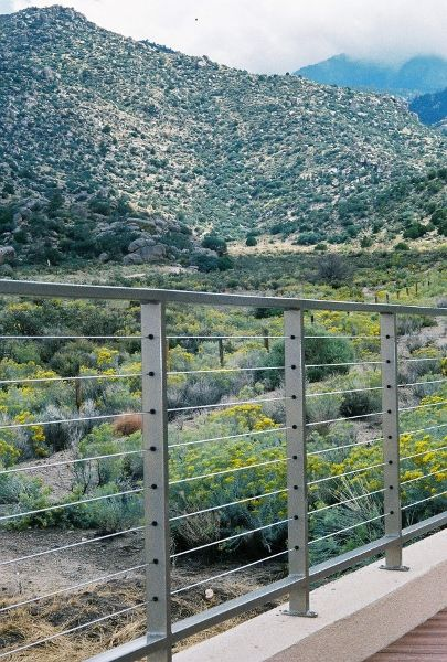 Pascetti Steel custom cable railing with a beautiful mountain view!