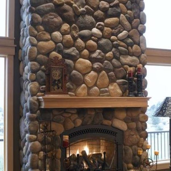 River Rock  Stonework  Home fireplace River rock fireplaces Stone veneer fireplace