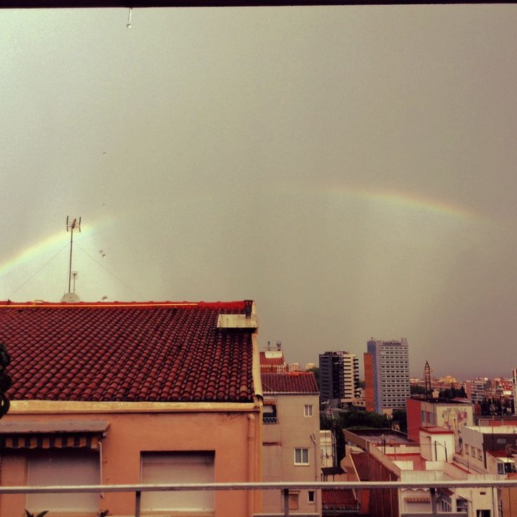 Rainbow after raining in Badalona