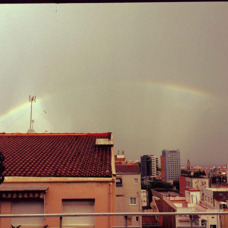 Rainbow after raining in Badalona