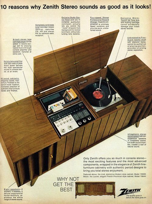 This is most definitely a blast from the past! ~ When record players & televisions were house in gigantic wooden cabinets ~ 1967 Zenith Advertisement ~