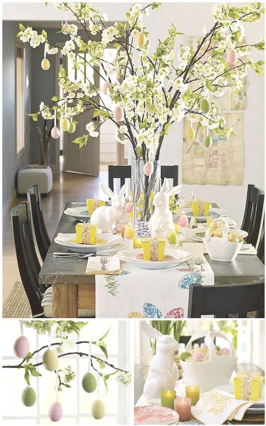 This table centrepiece looks amazing and really works... love the pastels and vibrant yellows... keeping the table linen to a minimum is a must!