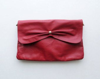 80s Mimo Sacs Red Leather Bag Poppy Shoulder Purse Crossbody Envelope Clutch
