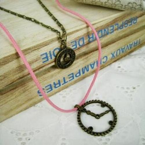 Pinky Love Clocks Necklaces