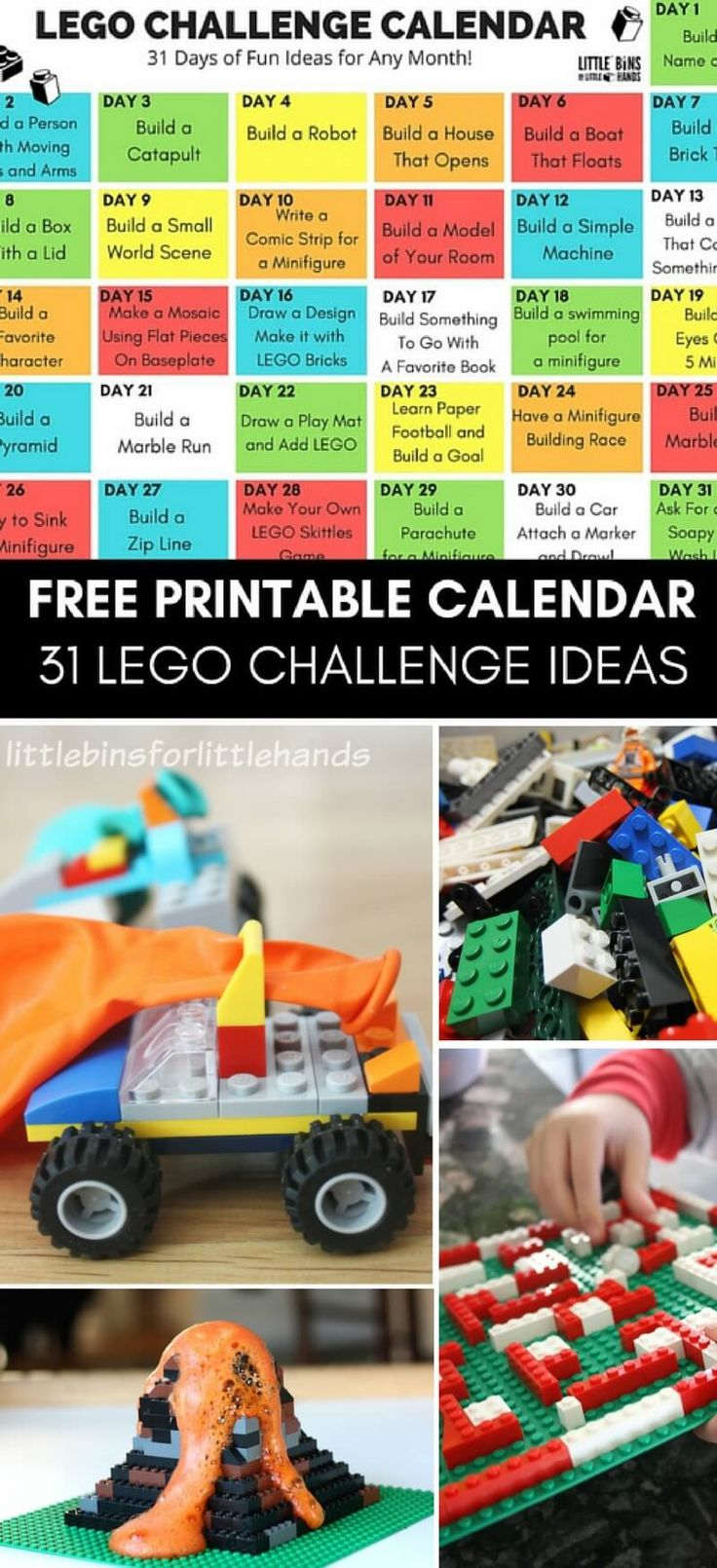 Free Printable LEGO Challenge Calendar for kids! Our 31 Day LEGO Calendar is filled with fun LEGO learning activities, LEGO STEM challenges, and cool ideas for building with LEGO. Use all year round or check out our seasonal LEGO activities and Christmas LEGO Advent Calendar!