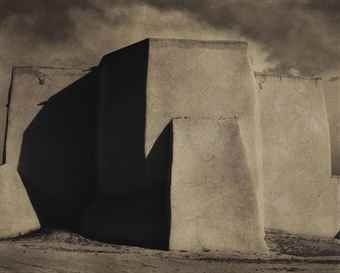 Paul Strand (1890-1976) Taos, New Mexico, Ranchos Church #2, 1931 gold-toned platinum contact print, flush-mounted on board signed, titled, dated in ink, and annotation 'SW-ARCH-#471' / 'PS 7594-Z' in pencil (mount, verso) image/sheet/flush mount: 4 5/8 x 5 7/8 in
