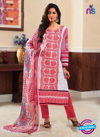 Rivaa14701B - Red & White Color Cotton Designer Suit