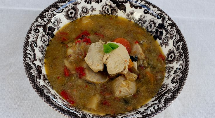 249 calories Lovely hearty comfort food. The great thing about this recipe is that you don't add the chicken until near the end of the cooking time, keeping the chicken beautifully tender. The sauc...