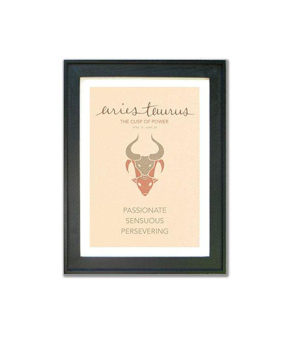 Aries Taurus Cusp Poster. Astrological Cuspian by ZodiacZone