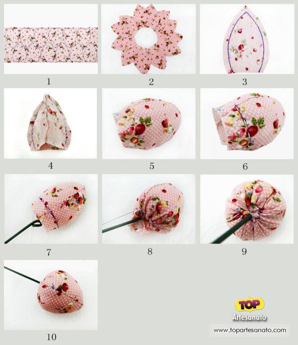 Artesanato com tecido: Como fazer tulipas de tecido passo a passo