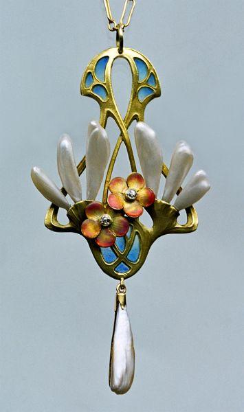 Art Nouveau Pendant  --  Circa 1900  --  German  --  Gold, Plique-à-jour enamel, pearls & diamonds.: