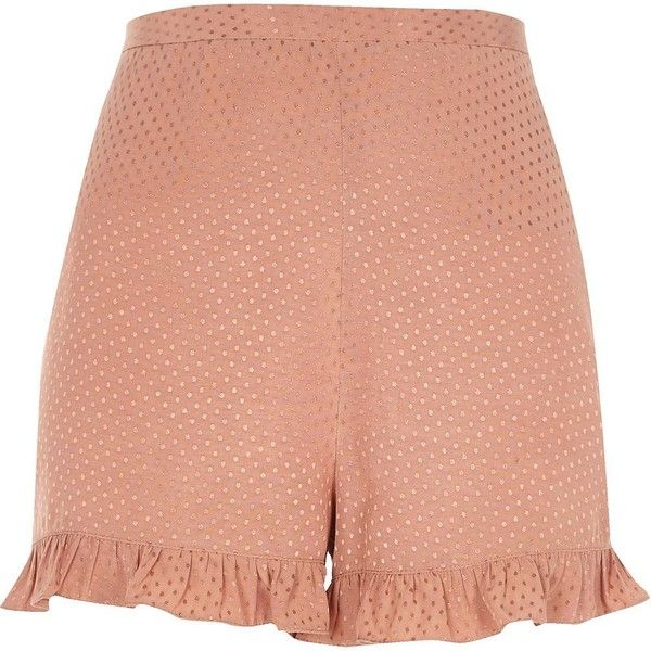 River Island Petite pink frill hem shorts ($24) ❤ liked on Polyvore featuring shorts, pink, sale, women, pink shorts, high rise shorts, jacquard shorts, high waisted shorts and high-rise shorts