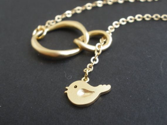 Double Circle Lariat Necklace Bird Lariat Necklace door mlejewelry, $18.00