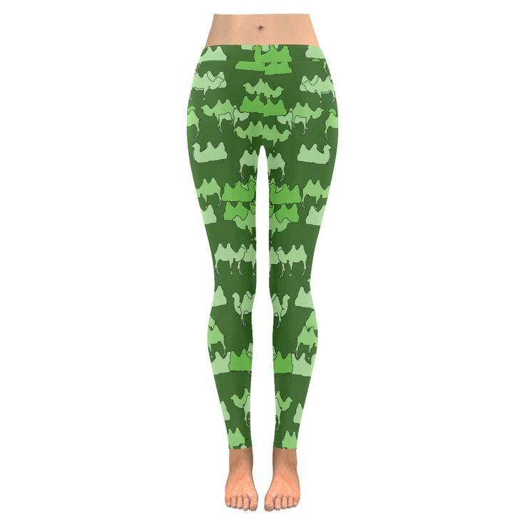 Green Camelflage Low Rise Leggings (Invisible Stitch) (Model L05)