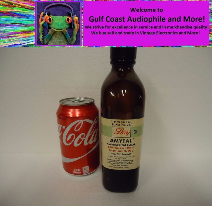 Eli Lilly Amytal Elixir, 1 Pint Barbiturate, Narcotic, Pharmacy Bottle