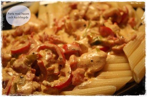 Dagens middagstips – Pasta med kyckling och baconsås! | Sandra - Mamma till Wilmer och Joline