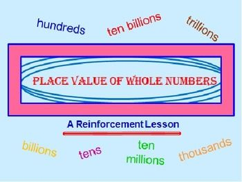 """PLACE VALUE POWERPOINT LESSON * A 53-slide PowerPoint program dealing with place value up to Hundred Trillions! This program consists of 5 different parts. They are: """"x"""" marks the spot!, """"abstract thinking!"""" - LETTERS instead of numbers!, """"the total worth"""" - students must give the TOTAL worth of a number, """"putting it all together"""" and """"place value extras"""". A different, fun and educational lesson on place value!"""