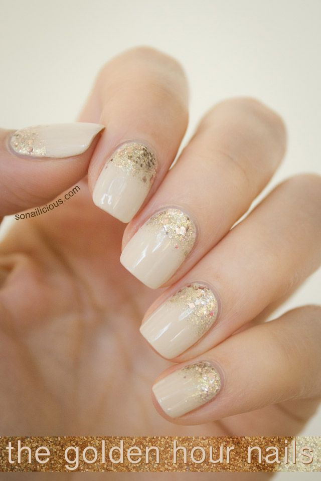Nude nails with glitter. Click for more info. #glitter #gold #nails